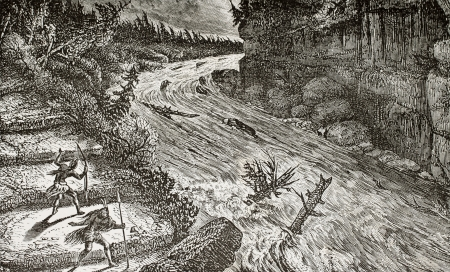 Old illustration of Montmorency rivers rapids, Canada. Original, by unknown author, was published on LEau, by G. Tissandier, Hachette, Paris, 1873