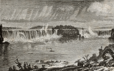 Old illustration of Niagara Falls, between U.S.A. And Canada. Created by Sargent, published on LEau, by G. Tissandier, Hachette, Paris, 1873