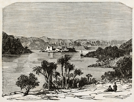 Old illustration of Nile river, Africa. By unknown author, published on LEau, by G. Tissandier, Hachette, Paris, 1873