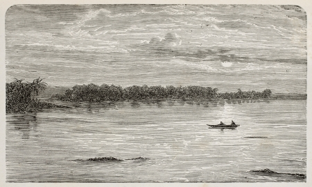 Old illustration of Orinoco river, Venezuela. By unknown author, published on LEau, by G. Tissandier, Hachette, Paris, 1873