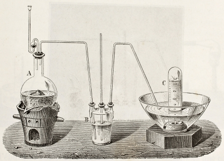 reaction: Old schematic  illustration of laboratory apparatus for oxygen production  Created by Laplante and Javandier, published on L