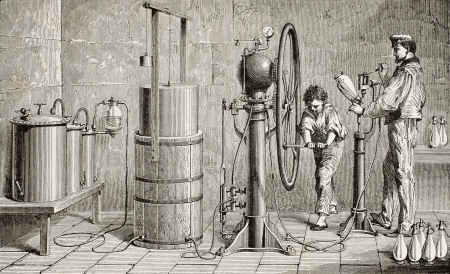 Antique illustration of a Ozouf apparatus for fizzy water production  Original, created by Javandier and Hildibrand, was published on L