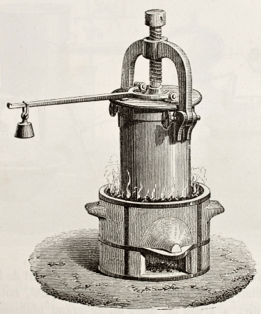 Old illustration of steam digester invented by French physicist Denis Papin in 1679  Original, by unknown author, was published on L
