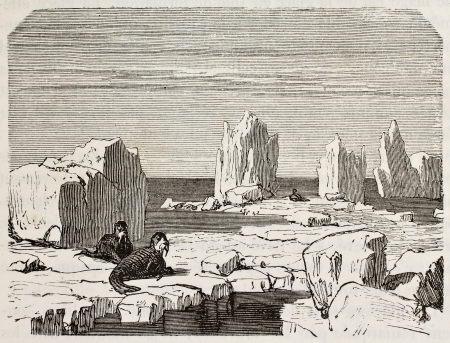 Old illustration of walruses on polar ice pack  Original, from unknown author, was published on L