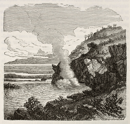 sulfide: Old illustration of sulphurous water source  Original, from unknown author, was published on L Editorial