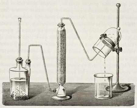 hidrogeno: Antigua ilustraci�n de la s�ntesis por combusti�n de hidr�geno del agua original, de autor an�nimo, fue publicada en L