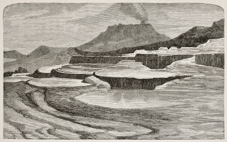 Old illustration of Te-Tarata  Pink and White Terraces, then buried by Mount Tawarera