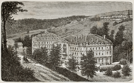 Antique illustration of Thermes Napoleon in Plombieres, France  Original, from unknown author, was published on L