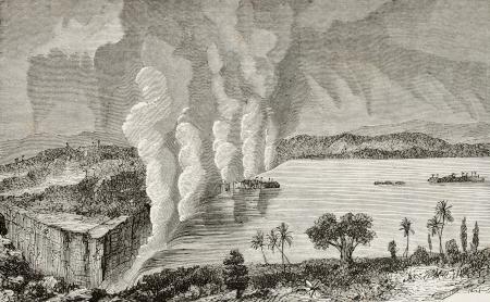 zimbabwe: Antigua ilustración de las cataratas Victoria, entre Zambia y Zimbabwe original, de autor anónimo, fue publicada en L