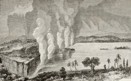 Old illustration of Victoria falls, between Zambia and Zimbabwe  Original, by unknown author, was published on L