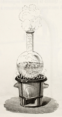 Old illustration of water boiling in a Florence flask  Original, by unknown author, was published on L