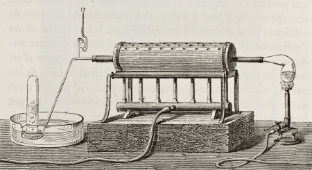 apparatus: Old schematic  illustration of laboratory apparatus fot water decomposition by iron  Created by Javandier, published on L Editorial