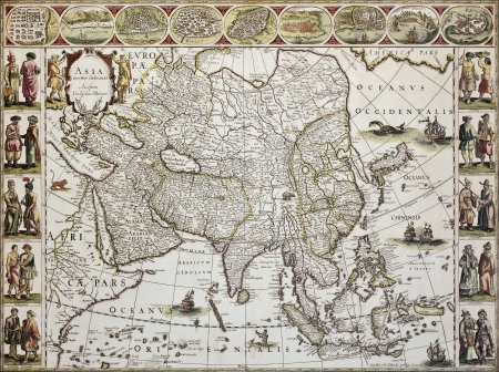 Asia old map. Created by Willem Bleau, published in Amsterdam, ca. 1650