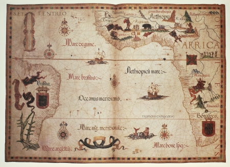 africa antique: Old Portolan chart of Atlantic Ocean. Created by Diego Homem, published in England, 1558. Editorial