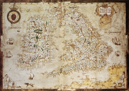 irish history: Old map of British Islands. Created by Laurence Nowell, published in England, 1564