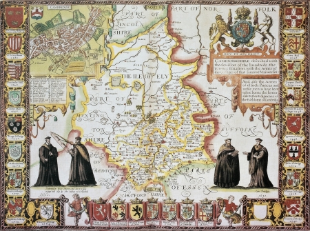 cambridgeshire: Cambridgeshire old map, from The Theatre of the Empire of Great Britain. Created by John Speed, Published in London, 1611