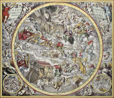 constelaciones: Representación de cristiano viejo hemisferio celeste. Desde Atlas Coelestis, creado por Andreas Cellarius, publicada en Amsterdam, ca. 1660 Editorial