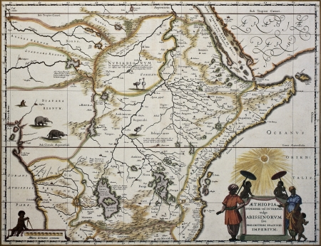 ethiopia: Ethiopia old map. Created by Joan Blaeu, published in Amsterdam 1650