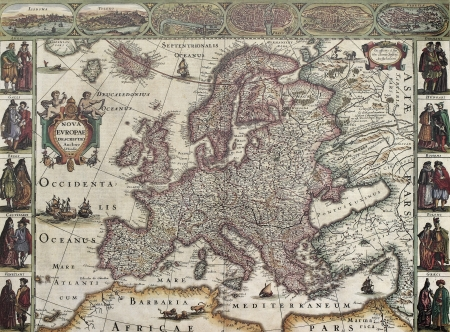 europa: Europa old map. Created by Henricus Hondius, published in Amsterdam, 1623 Editorial