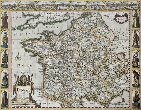 フランス古い地図、世界の最も有名な部分の見通しから。1627、ロンドンで出版されたジョン速度によって作成されました。