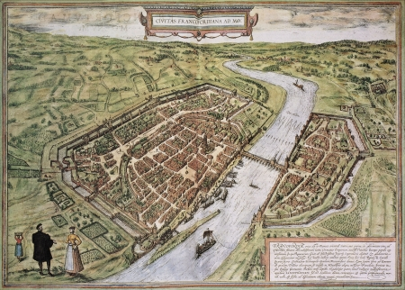 frans: Frankfurt old map, from Civitates Orbis Terrarum. Created by Georg Braun and Frans Hogenberg. Published in Cologne, Germany, 1572