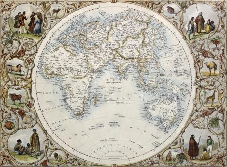 hemisphere: Old map of Hemisphere oriental. Created by John Tallis, published on Illustrated Atlas, London 1851 Editorial