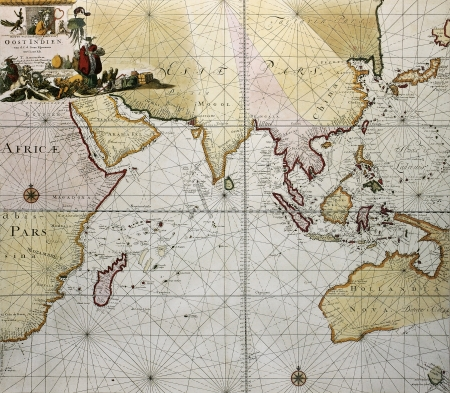 asia map: Indian ocean old map, southern Asia, eastern Africa and west Australia. Created by Hendrick Doncker, published in Amsterdam, 1705