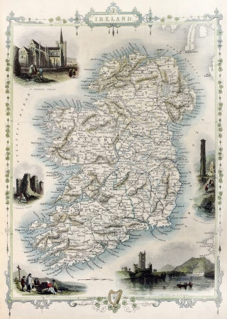 Ireland old map. Created by John Tallis, published on Illustrated Atlas, London 1851 Stock Photo - 14986592