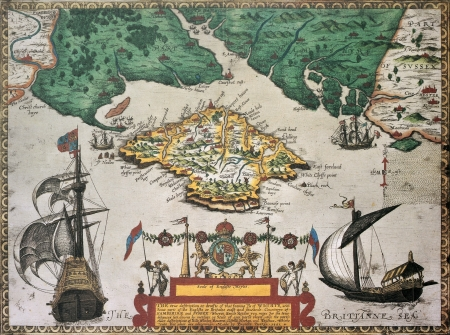 framed: Isle of Wight old map ans southern England. By Baptista Boazio, published in England, 1591.