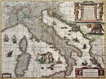 Italy old map. Created by Henricus Hondius, published in Amsterdam, 1631 Stock Photo - 14986511