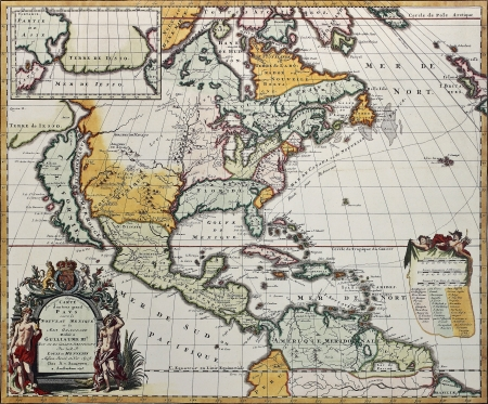 central california: North America old map. Created by Louis Hennepin, published in Amsterdam, 1698 Editorial