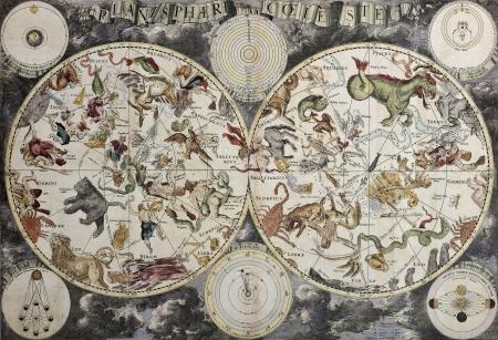 constelaciones: Antiguo mapa del cielo que muestra hemisferios boreal y austral con las constelaciones y los signos del zodiaco. Creado por Frederick De Wit, Amsterdam 1680