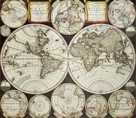Old double emisphere map of the world surrounded by smallest emispheric projections. Created by Carel Allard, published inb Amsterdam, 1696