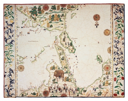roth: Old map based on South-Eastern Asia Portolano, by Jean Roth, Dieppe, Haute Normandie, ca. 1540. Editorial