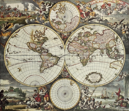 planisphere: Old map of world hemispheres. Created by Frederick De Wit, published in Amsterdam, 1668