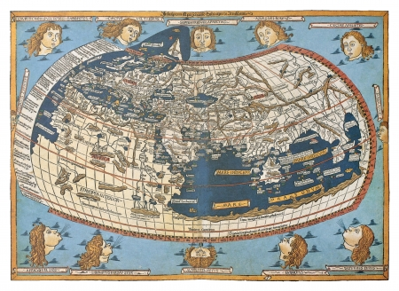2nd century: Map of the world (in those days known), after Claudius Ptolemys work (Egyptian Roman, mathematician, astronomer, astrologer and geographer in 2nd century), engraved by Johannes Schnitzer, Ulm, 1492