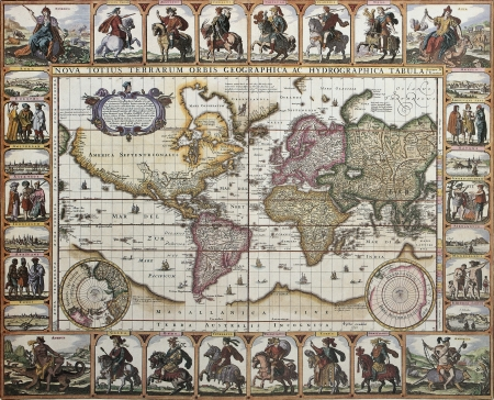 World old map. Created by Nicholas Visscher, published in Amsterdam, 1652 Editorial