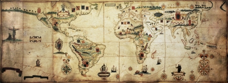 planisphere: Antique world planisphere portolan map of Spanish and Portuguese maritime and colonial empire. Created by Antonio Sanches, published in Portugal, 1623