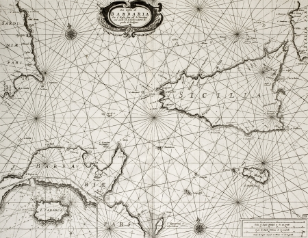 Old maritime map of North Africa coast and South Mediterranean, around Sicily, Sardinia, Malta and Cape Bon, including an insert map of Tabarka island. The original map may be dated to the second half of 17th c.