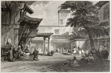 Old illustration of the fig tree Algiers bazaar. Created by Allon and Prior, published on Il Mediterraneo Illustrato, Spirito Battelli ed., Florence, Italy, 1841 Stock Photo - 14986473