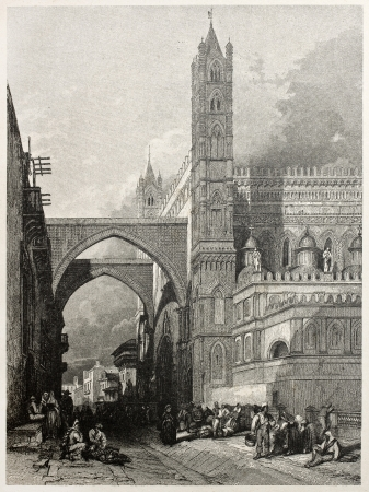 mediterraneo: Old view of Archbishop palace and cathedral, Palermo, Italy. Created by Leitch and Smith, published on Il Mediterraneo Illustrato, Spirito Battelli ed., Florence, Italy, 1841 Editorial