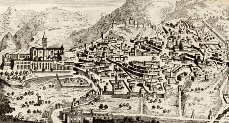 dated: Old plan of Assisi, Italy, the little town where St. Francis was born. Original engraving from unknown author, may be approximately dated to the 18th c. Editorial