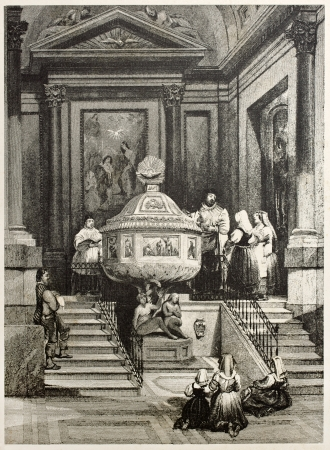 mediterraneo: Old illustration of the Baptismal font in Palermo cathedral. Created by Leitch and Sands, published on Il Mediterraneo Illustrato, Spirito Battelli ed., Florence, Italy, 1841 Editorial