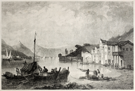 Old view of town and port of Bathi, Ithaca. Created by Bentley and Sands, published on Il Mediterraneo Illustrato, Spirito Battelli ed., Florence, Italy, 1841