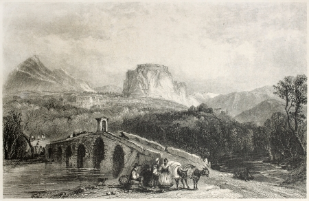 mediterraneo: Old illustration of the castle of Cassano, Calabria, Italy. Created by Lieut, Allen, Salmon and Bentley, published on Il Mediterraneo Illustrato, Spirito Battelli ed., Florence, Italy, 1841