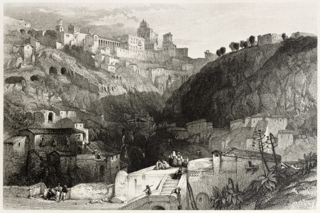 mediterraneo: Old view of Castrogiovanni, at present days Enna, Sicily, Italy. Created by Leitch and Starling, published on Il Mediterraneo Illustrato, Spirito Battelli ed., Florence, Italy, 1841