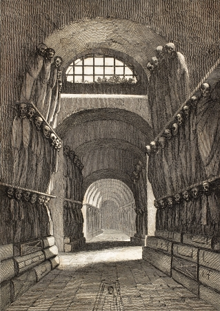 dated: Antique illustration of Cappuccini Catacombs in Palermo, Italy. The original engraving was created by Lenormand e Lamargue and may be dated to the half of 19th c.