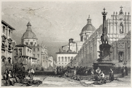 mediterraneo: Old view of Elephant square, Catania, Sicily. Created by Leitch and Allen, published on Il Mediterraneo Illustrato, Spirito Battelli ed., Florence, Italy, 1841