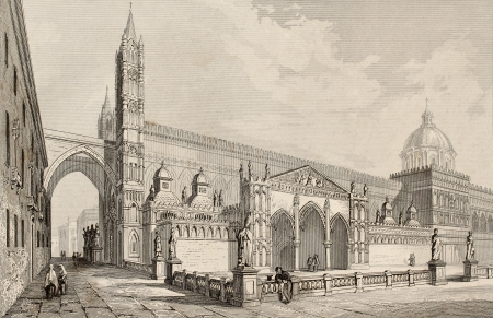 Antique illustration of Palermo Cathedral, Italy. The original engraving, was created by E. Romargue and may be dated to the half of 19th c. illustration