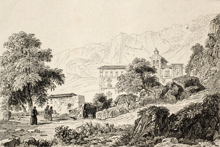 palermo italy: Antique illustration of Chapelle St. Rosalie, the patron saint of Palermo, Italy. Original engraving was created by Lemaitre in 1840 ca. Editorial